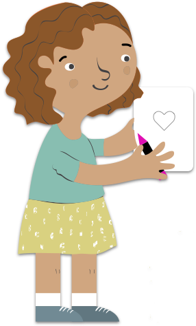 illustration of a girl completing a worksheet