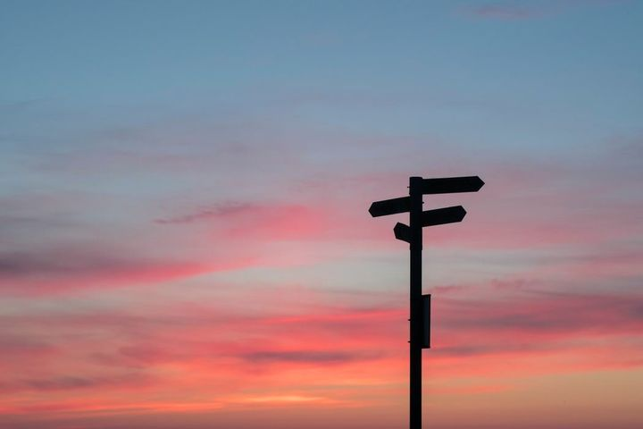 signpost in front of a sunset